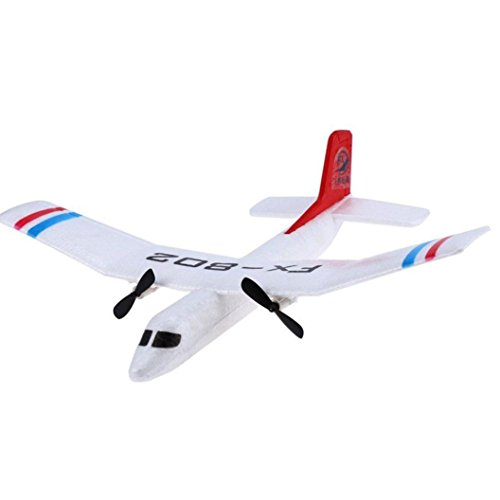 GJKK Flybear FX - 802 2,4 GHz 2 Kanal EPP Starrflügelflugzeug Front Pull Dual Propel Ferngesteuerte Flugzeuge RC Mini Drone RC Mini Drone Fern Fixed Wing Plane Flying Gliders Wurfglider Glider Fernbedienung Flugzeug Drone-Weiß (Weiß)
