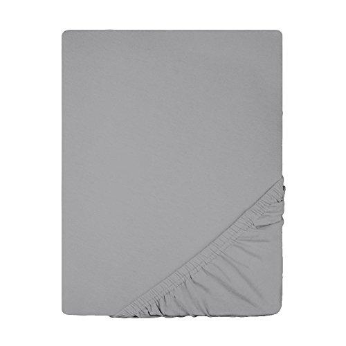 Topper Spannbettlaken Jersey Baumwolle | viele Farben alle Größen | Spannbetttuch für Boxspringbetten-Topper | 180 x 200 bis 200 x 200 cm CelinaTex 0004577 Lucina dunkel-grau
