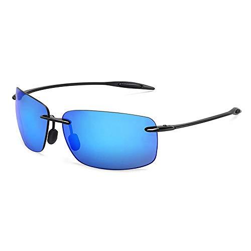 GRAZJ Classic Sports Polarized Sonnenbrillen Verspiegelte Gläser Unisexbrille Rechteck Randlose Ultraleicht Frame Sonnenbrille (Farbe : Blau)
