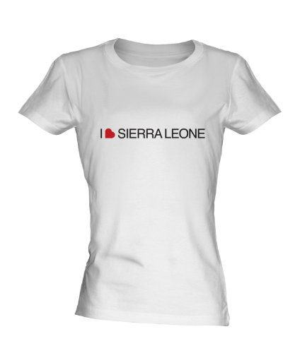 I Love Sierra Leone Ladies White T-Shirt Fitted T Shirt Top