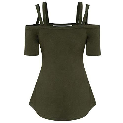 VRTUR Große Größen Damen Shirt Cut Outs Damenmode Oberteile Schulterfrei Loose Fit V-Ausschnitt Kurzarm Top T-Shirt Bluse (Grün,XL) (Möbelstoff Camouflage)