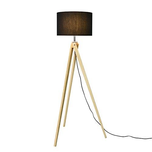 Viugreum Lampadaire Triepied Bois Blanc, Lampe sur Pied [8W LED Ampoule Inclus 720lm][Interrupteur sur Câble] Moderne Scandinave Desigh pour Solon Chambre Bureau (NOIR)