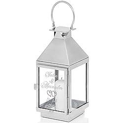 Geschenke 24 Laterne zur Hochzeit mit Gravur (36x13x13cm - HxBxT, Motiv Herzen) - originelle Hochzeitsgeschenke für Brautpaare