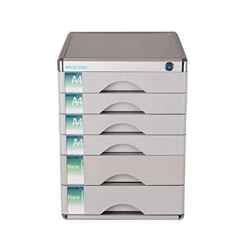 Wanli666 Aluminiumlegierung Aktenschränke, Tischplatte Büro Desktop Schubladenschrank 6-Schichten Abschließbare Datenspeicherbox (größe: 12in * 14.4in * 16.2in) -