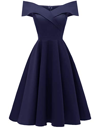 Viloree 50s Rockabilly Damen Kleid Baumwolle Schulterfrei Swing Party festlich Navy S -