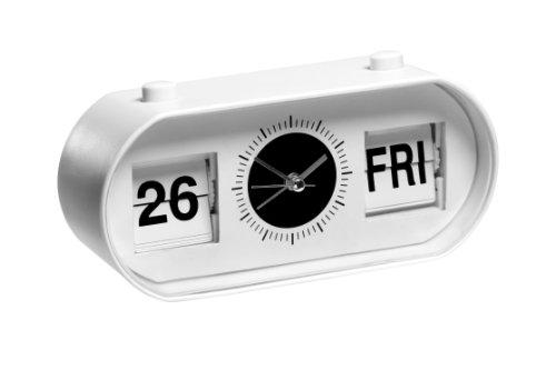 Premier Housewares Ovaler Wecker mit Datum-Flipanzeige 9x19x6 cm weiß