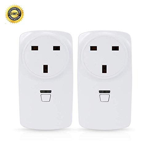 WiFi Smart Plug, Wireless Timer Switch Power Socket Outlet, arbeitet mit Amazon Alexa Echo, gesteuert von einem Smartphone, 2 Pack (UK Plug) [Energy Class A +]