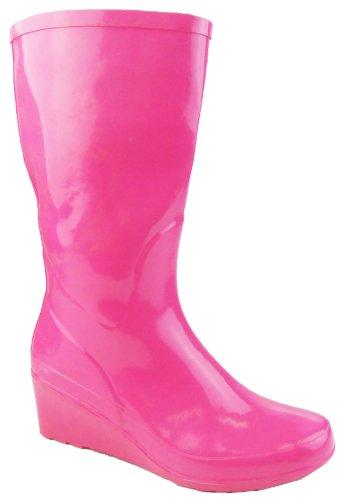 Footwear Studio Damen Keilabsatz Gummistiefel Rosa