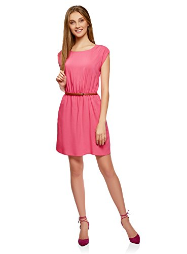 oodji Ultra Damen Viskose-Kleid mit Gürtel, Rosa, DE 34 / EU 36 / XS
