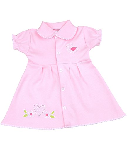 Pink Preemie Dress With Bird Motif 1.5-3.5 lbs
