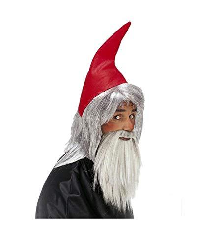 Horror-Shop Zwergenmütze rot mit Bart