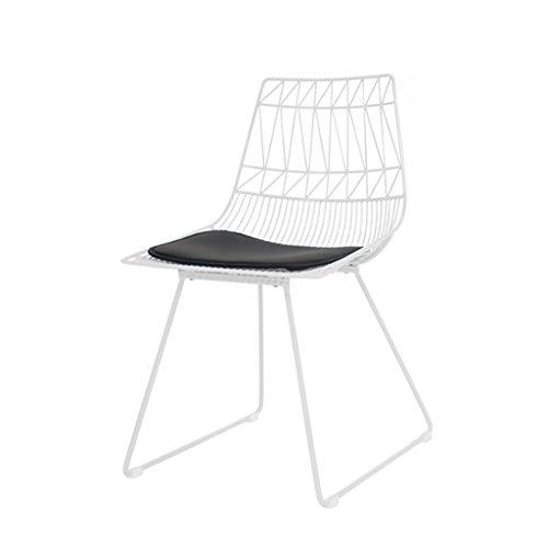 LYQCY Nordic Ins Metall Drahtgeflecht Stuhl Hause Geschäft Schmiedeeisen zurück Freizeit Stuhl Größe: 60 * 47 * 84 cm (Farbe : Weiß)