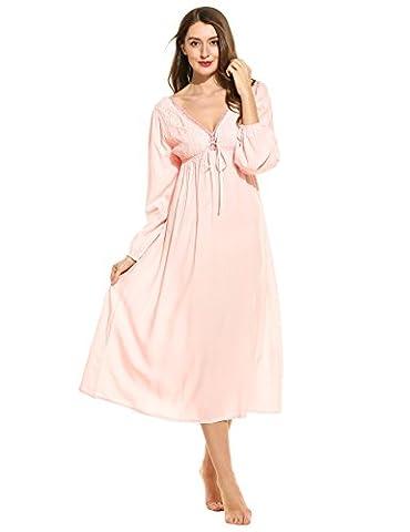 Ekouaer Women's Cotton Victorian Vintage Lace Long Nightgown Nightdress (Pink, L)