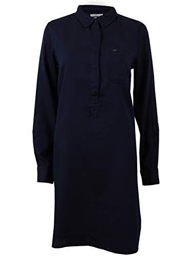 Lee Damen Tunica Slim Uni, Größe:XS, Farbe:Midnight Blue (DB) - Lee Langarm Kleid Shirt