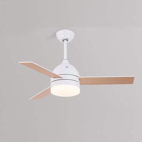 WENYAO Luz del Ventilador de Techo de 42 Pulgadas con Control Remoto LED Luz del Ventilador del Dormitorio / 3 aspas del Ventilador de Madera/Iluminación Interior Lámpara para Ventilador - Regula