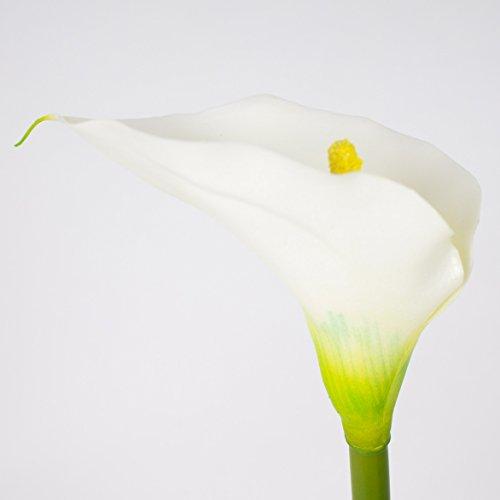 artplants Set 3 x Künstliche Calla, weiß, natürlich anfühlend, 70 cm, 8 x 12 cm – Kunstblume/künstliche Blume