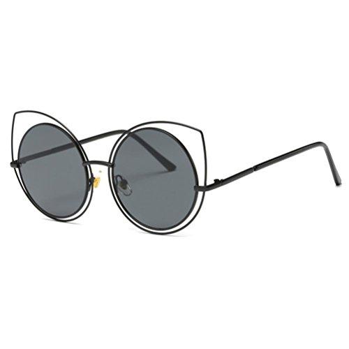 OverDose Unisex Sommer Frauen Männer Moderne Modische Spiegel Polarisierte Katzenauge Metallrahmen Sonnenbrille Brille Damensonnenbrille Herrensonnenbrille (L-C)