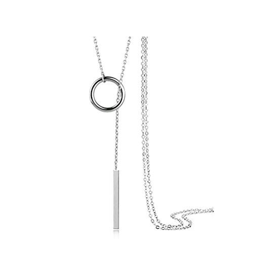 ZI LING SHOP- S925 Sterling Silber Halskette Weibliche Pullover Kette lange Abschnitt Einfache Silber Kette Necklace