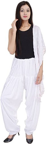 JAIPUR FASHION HUB Women\'s 100% Pure Cotton Semi readymade Bottom Patiala Salwar Pant and Dupatta Set (White____Free Size)