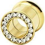 Clear Crystal Screw-Fit Double Flared Gold Hollow Gemmed Ear Plug Gauge Flesh Tunnel 4mm - 25mm