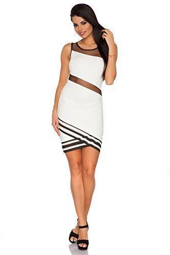 Futuro Fashion Exklusiv Ausschnitt Mini Kleid mit Durchsichtig Netz Wickel Stil Polyester FC1669 Naturfarben
