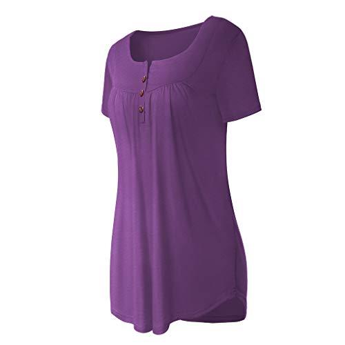 Tan Gold Flare (Epig Fasion Frauen gekräuselt Kurzarm V-Ausschnitt Shirt Reine Farbe Taille gebunden Tunika Tops)
