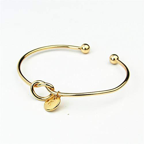 Love Knot Armreif Gold 1pcs Personalized Letter Einfache Manschetten Frauen Stretch für Frauen