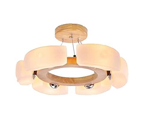 AYAYA Holzlampe Led Rund Italien Indirekt G4 Design Deckenleuchte HolzProtokolle Treibholz Rustikal Massivholz Landhaus Holzoptik Deckenlampe Schlafzimmerlampe Lampe Für Schlafzimmer H 20CM-50CM (50CM