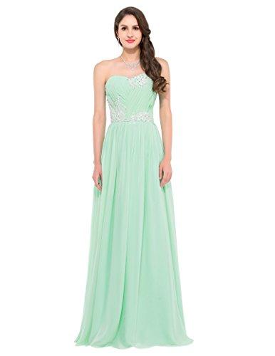 romantisch kleider prom dress for women hellgrün lang chiffon kleid ärmellos ballkleid Größe 38 CL6107-1 (Ärmelloses Satin Kleid)