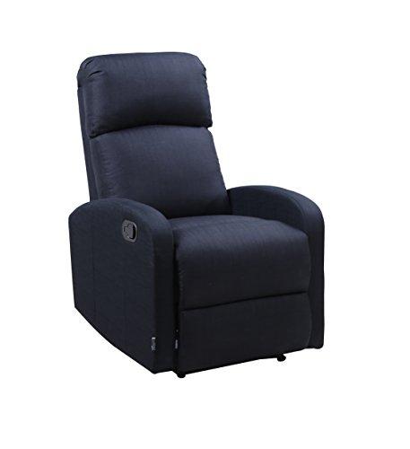 Astan Hogar Confort Plus Sillón Relax con Reclinación Manual, Relleno Poliuretano, Negro, Compacto
