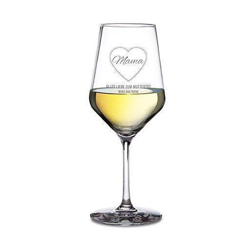 AMAVEL - Weißweinglas - Weinglas für Weißwein mit Gravur - Mama im Herzen - Alles Liebe zum Muttertag - Personalisiert mit Namen - Schönes Muttertagsgeschenk – Füllmenge: ca. 490 ml