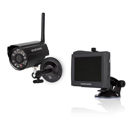 Smartwares CS80DVR Digitales 2-Kanal Funk-Kameraüberwachungssystem mit 4,3 Zoll Monitor mit kabelloser