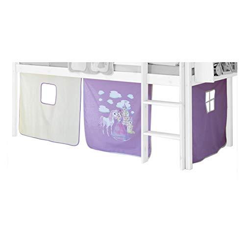 IDIMEX Vorhang Gardine Bettvorhang, Prinzessin, lila-weiß (Lila Hochbett Für Mädchen)
