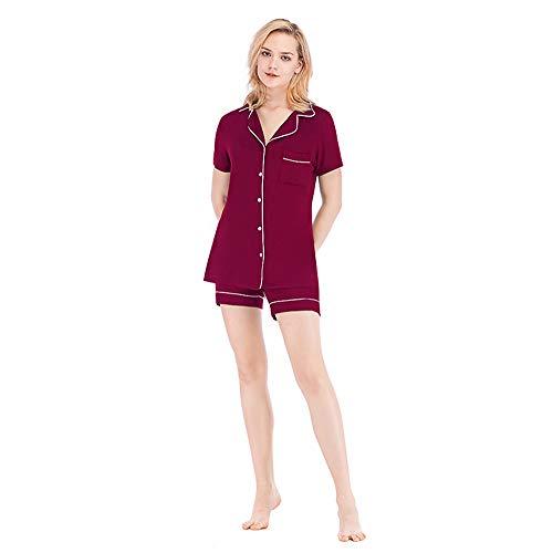 OLLOLCCY Frauen Satin Pyjama Set Kurzarm Nachtwäsche Pjs Button Down Loungewear s ~ 2XL,Red,M