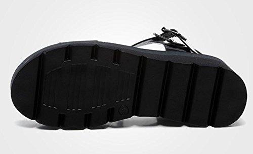 2017 nuova pendenza casuale di spessore inferiore con i sandali apre i pattini dei muffin di modo dell'inarcamento della parola di punta 1