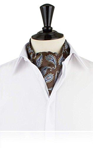 Krawattenschal, braun, blaues Paisley Muster
