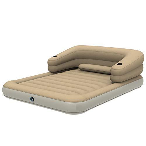 ZOUBIAG Luftmatratze Im Freien Rückenlehne Streifen Design Komfort (Color : Beige, Size : D) -
