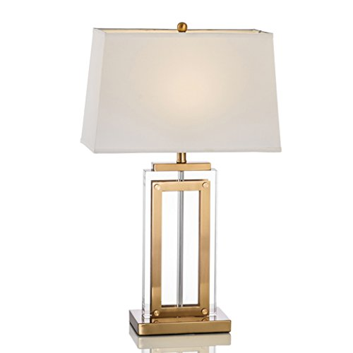 Lampe de Table en Cristal Clair Éclairage Design Moderne avec Forme Rectangle pour Salon Art Déco Blanc