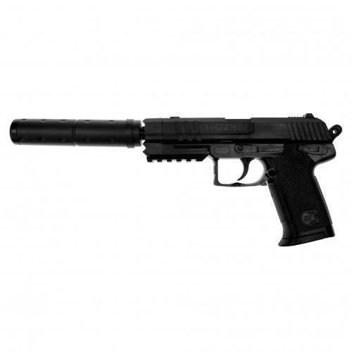 SET: PROFI SOFTAIR Black-BERET mit Schalldämpfer PISTOLE WAFFE 0,5 JOULE ABSOLUT ZIELSICHER! 0,5 Joule 6mm + G8DS® BIO Softairkugeln 6mm 0,20g 2000 BBs