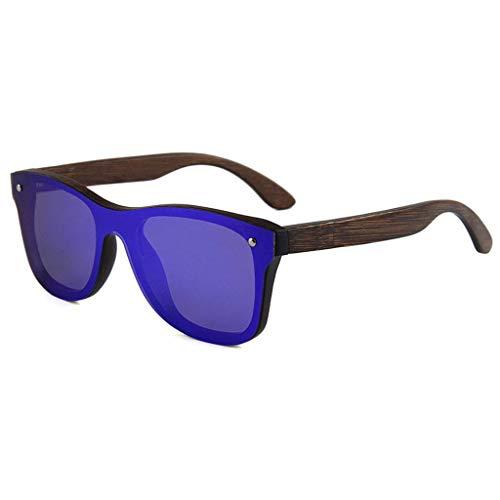 MWPO Bambusholz polarisiert, Damenmode Brille mit bunten Linse für Strand Spielen polarisierte Brille (Farbe: blau Quecksilber Linse)