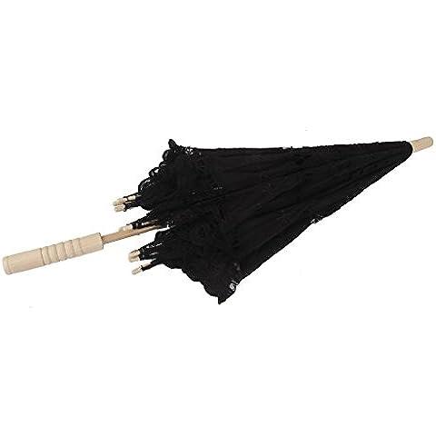 Hecha A Mano Sombrillas De Encaje De Algod¨®n Paraguas Partido De La Boda De Novia Madera Mano Negro