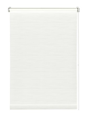 GARDINIA Rollo mit dezenten Streifen zum Klemmen oder Kleben, Tageslicht-Rollo, Blickdicht, Alle Montage-Teile inklusive, EASYFIX Rollo Dekor, Weiß, 75 x 150 cm (BxH)