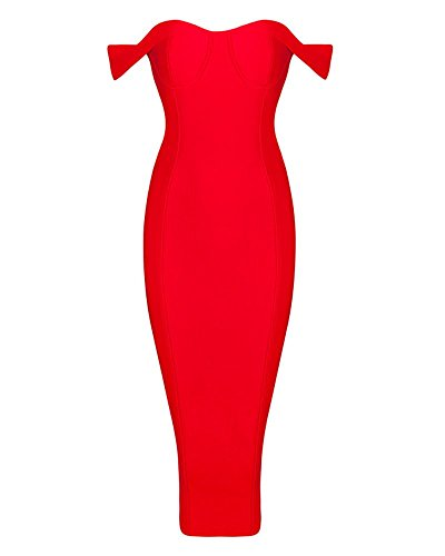 Whoinshop Damen Rayon Schulterfrei Bustier Top Midikleid VerbandKleid Partykleid Rot M Kleid Für Reife Frauen