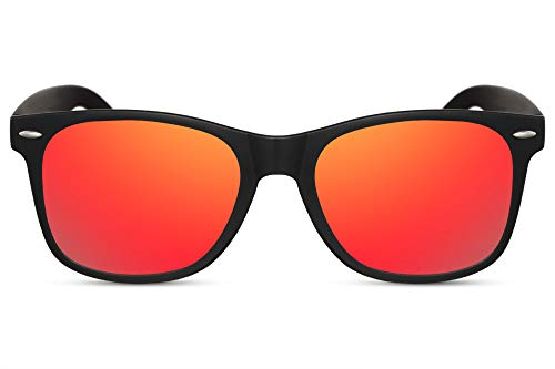 Cheapass Sonnenbrille Matt-Schwarz Rot-Gold Verspiegelt Klassisch Recht-Eckig UV-400 Plastik Damen Herren