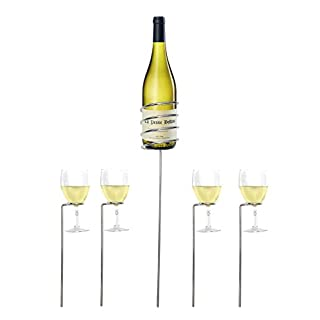 Wine Bottle and Glass Holder Set - Adjustable 4 Wine Glass Holders and 1 Wine Bottle Holder for Garden Parties, Camping and Picnics