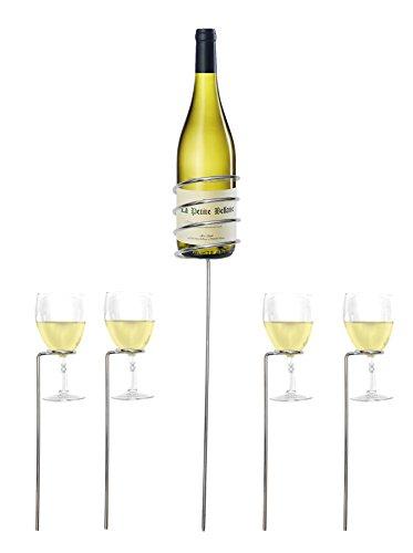 Set di supporti per vino con porta-bottiglia e 4 porta-calici; da esterni, per feste in giardino, campeggio e picnic