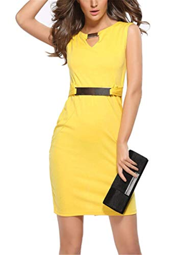 LCXYYY Damen Sommerkleid Elegant Vintage Slim Fit Abendkleid Business-Kleid Knielang V-Ausschnitt Einfarbig Ärmellos Strandkleid Lose...
