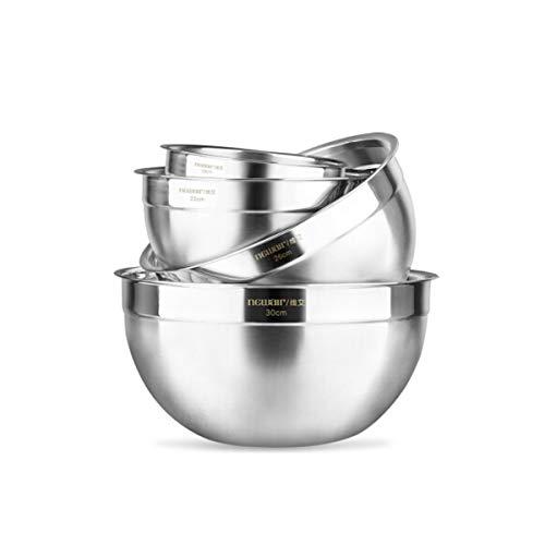 HENGTONGTONGXUN Bacinella, lavabo in acciaio inossidabile, tuta in quattro pezzi, cucina in teglia e riso con noodle, pentola per insalata, argento bacino di raccolta (Color : Silver)