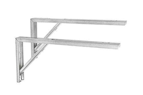 2 Stück - Regalkonsole Metall Regalträger Tischverlängerung Winkel-Beschlag | Stahl verzinkt | Konsole-Stütze aus für die Wandmontage | 300 x 30 x 180 mm | Möbelbeschläge von GedoTec®