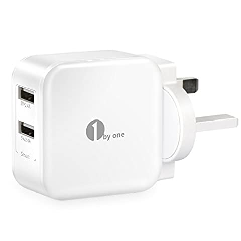 1byone USB Charger 24W 2.4A 2-Port Dual USB Wall Charger with Smart Charging Technology for iPhone, iPad, Samsung Galaxy, HTC, Nexus, Moto, Blackberry, and More -